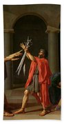 The Oath Of Horatii Beach Towel by Jacques Louis David