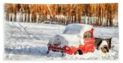The Old Farm Truck In The Snow Beach Towel