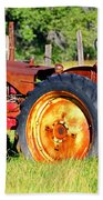 The Old Tractor In The Field Beach Towel