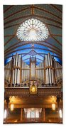 The Organ Inside The Notre Dame In Montreal Beach Towel