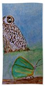 The Owl And The Butterfly Beach Towel
