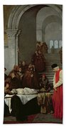 The Painter Luca Signorelli Standing By The Body Of His Rival's Dead Son Beach Towel