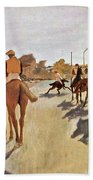 The Parade, Digitally Enhanced Highest Resolution,race Horses In Front Of The Tribune, Edgar Degas Beach Towel