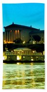 The Philadelphia Art Museum And Waterworks At Night Beach Towel