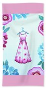 The Pink Floral Dress Beach Towel