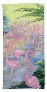 The Pink Pond Of Flamingos Beach Towel