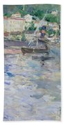 The Port At Nice Beach Towel by Berthe Morisot