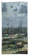 The Port Of Bordeaux Beach Towel by Eugene Louis Boudin