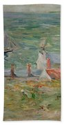 The Port Of Gorey On Jersey Beach Towel by Berthe Morisot