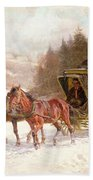 The Post Coach In The Snow Beach Towel by Fritz van der Venne