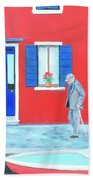 The Red House On The Island Of Burano Beach Towel