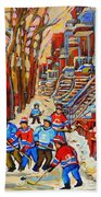 The Red Staircase Painting By Montreal Streetscene Artist Carole Spandau Beach Towel