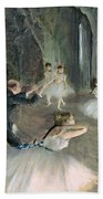The Rehearsal Of The Ballet On Stage Beach Towel