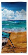 The Resting Boat And The Beach Holidays Beach Towel