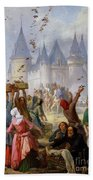 The Return Of Saint Louis Blanche Of Castille To Notre Dame Paris Beach Towel