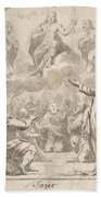 The Risen Christ Between The Virgin And St. Joseph Appearing To St. Peter And Other Apostles Beach Towel