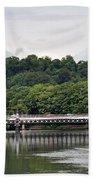The River And Bridges At Burton On Trent Beach Towel