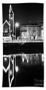 The River Liffey Reflections Bw Beach Towel