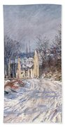 The Road To Giverny In Winter Beach Towel by Claude Monet