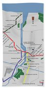 The Rochester Pubway Map Beach Towel