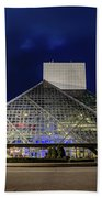 The Rock And Roll Hall Of Fame At Dusk Beach Towel