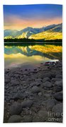 The Rockies Reflected At Lake Annettee Beach Towel