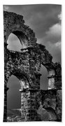 The Roman Aqueduct At Aspendos, Turkey.    Black And White Beach Towel