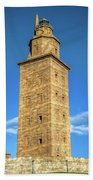The Roman Lighthouse Known As Tower Of Hercules Beach Towel