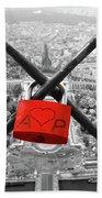 The Romantically Love Inscribed Padlocks On The Eiffel Tower, Pa Beach Towel
