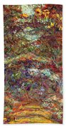 The Rose Path Giverny Beach Towel by Claude Monet