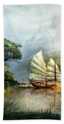 Sailing Boat In The Lake Beach Towel