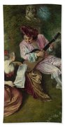 The Scale Of Love Beach Towel by Jean-Antoine Watteau