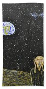 The Scream And Planets  Beach Towel