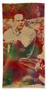 The Shawshank Redemption Movie Inspired Watercolor Portrait Of Tim Robbins And Morgan Freeman On Worn Distressed Canvas Beach Towel