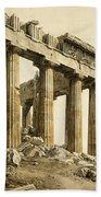 The South-east Corner Of The Parthenon. Athens Beach Towel