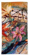 The Splash Of Life 17. Humming-bird And Exotic Flowers Beach Towel