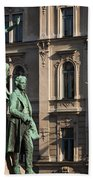 The Statue Of France Preseren And His Muse Beach Towel