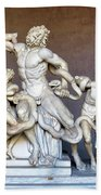 The Statue Of Laocoon And His Sons At The Vatican Museum Beach Towel