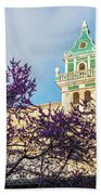 The Steeple Of The Valldemossa Charterhouse In Spring Beach Towel