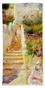 The Steps In Algiers Beach Towel by Pierre Auguste Renoir