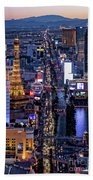the Strip at night, Las Vegas Beach Towel