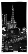 The Strip By Night B-w Beach Towel