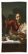 The Supper At Emmaus Beach Towel by Caravaggio