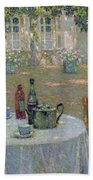 The Table In The Sun In The Garden Beach Towel by Henri Le Sidaner