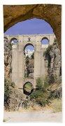 The Tajo De Ronda And Puente Nuevo Bridge Andalucia Spain Europe Beach Sheet