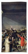 The Tennis Court Oath Beach Towel by Jacques Louis David