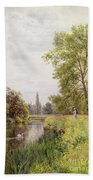 The Thames At Purley Beach Towel by William Bradley