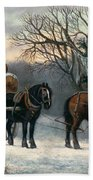 The Timber Wagon In Winter Beach Towel by Anonymous