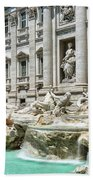 The Trevi Fountain In The City Of Rome Beach Towel