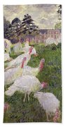 The Turkeys At The Chateau De Rottembourg Beach Towel by Claude Monet